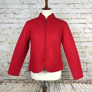 Red Quilted Zip Up Jacket